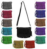 OBC ital-design Damentasche Fransen Tasche Schultertasche Umhängetasche Abendtasche Clutch CrossOver: Lässige und modische Damentasche…