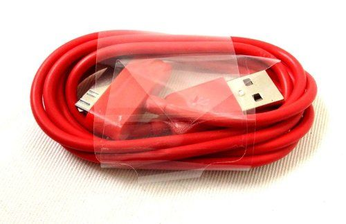 cool iPhone 4s Red USB Data Transfer , Sync / Charging Cable also compatible with iPad 2 / iPod Nano Shuffle Touch Nano / iPhone 3Gs 3 - Premium Quality Distinguished Style and Colour