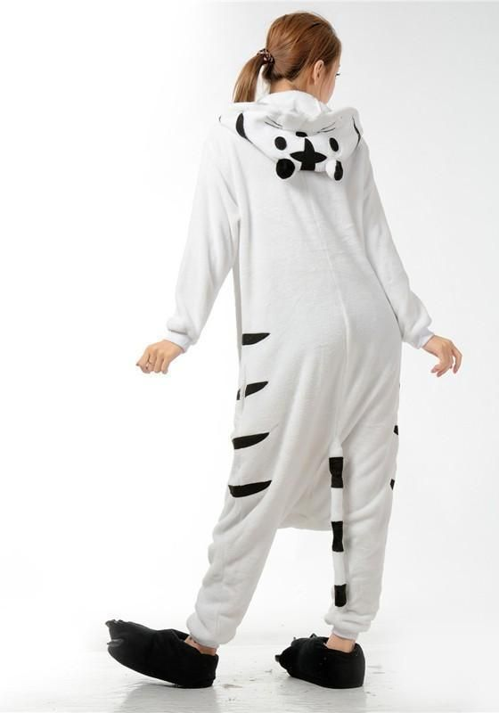 5b0dfcf1ba55 White Animal Tiger Pockets Buttons Oversize Cosplay Onesie Pajamas Long  Jumpsuit