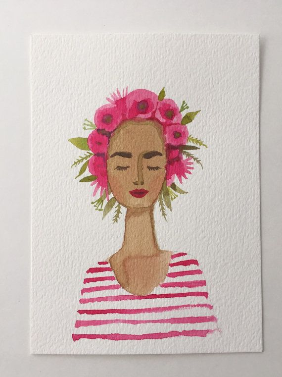 This is an original watercolor of a lovely lady wearing a flower crown. So french-girl chic with her stripes.