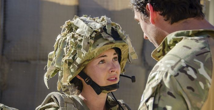 Our Girl series: Lacey Turner (plays Molly Dawes) and Ben Aldridge (Captain James)