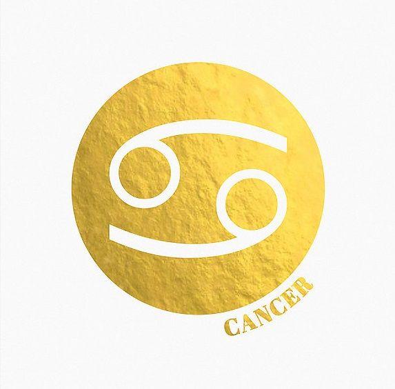 Gold Foil Cancer ♋ Zodiac Sign   Astrology Art
