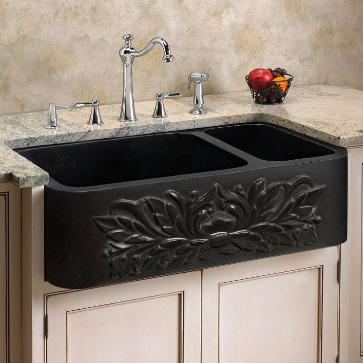 black farmhouse sink | Polished black granite kitchen farm sink ...