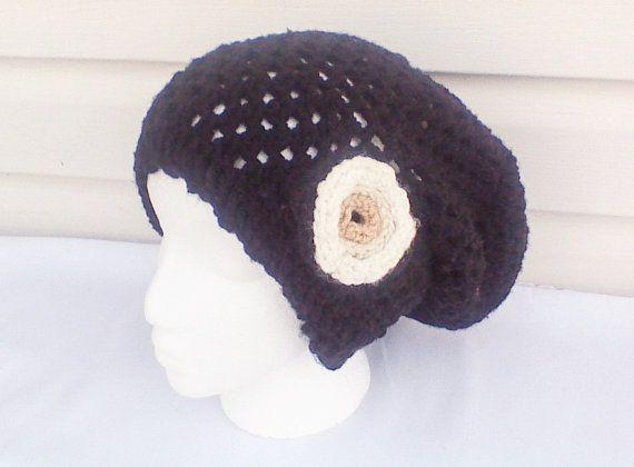 Black crochet hat crochet slouch hat boho beanie by HandmadeTrend