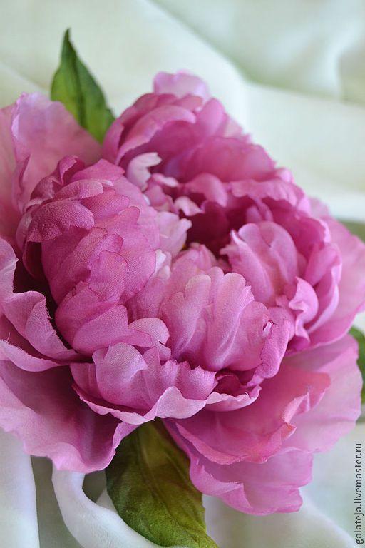 Цветы из шелка.Брошь-заколка Пион Шатийон - розовый,пион,брошь,брошь пион