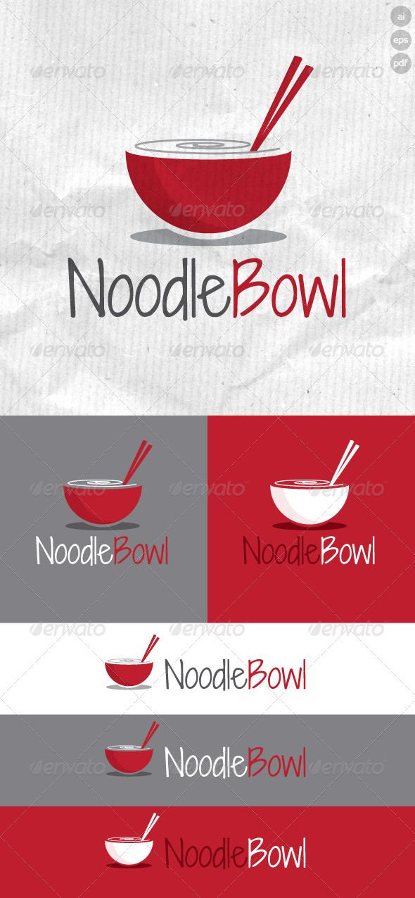 Noodle Bowl Logo is designed for noodle bar shops and stalls. It is made by simple shapes although looks very professional.