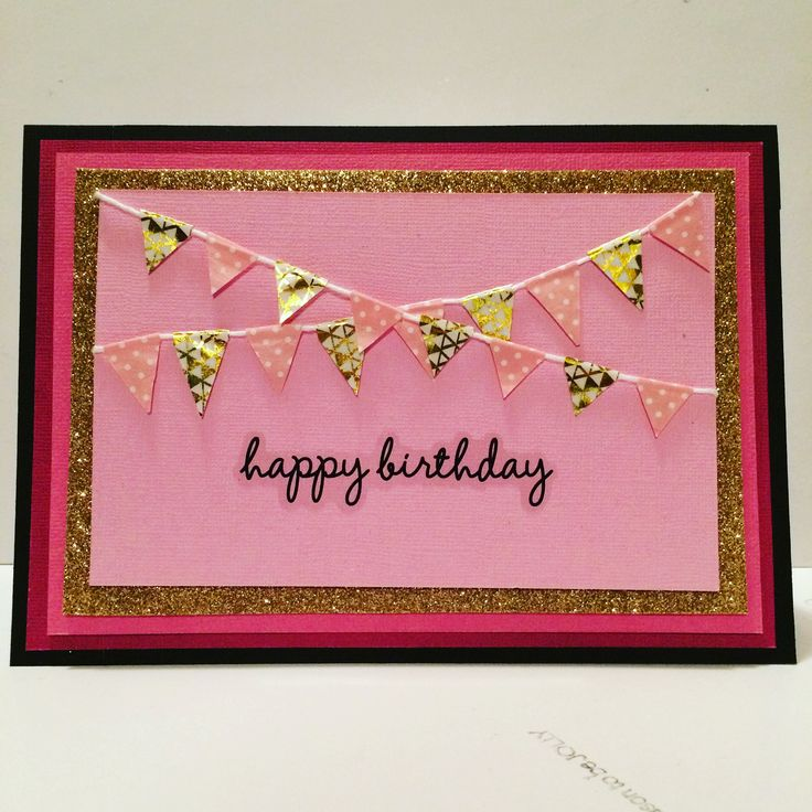 Pink and glitter birthday card