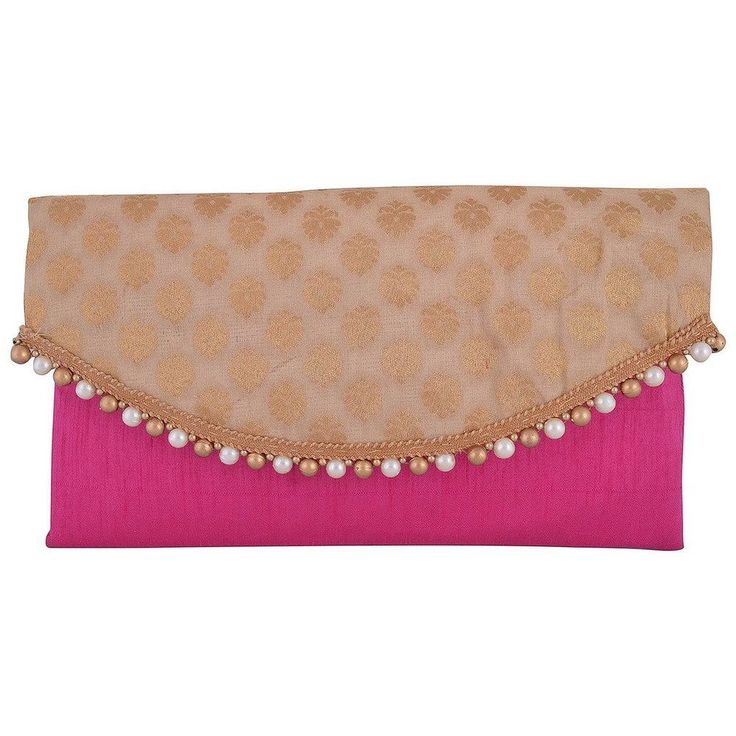 Raw Silk Pink Color Envelope Clutch With Golden Flap To Suit Ethnic Outfit Best! #ArishaKreationCo #Clutch