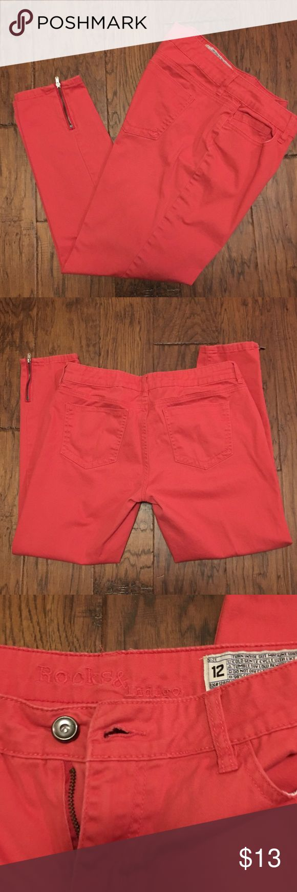 Colored Jeans Lightweight orange jeans with zippers at ankle. Like new condition. Jeans Ankle & Cropped