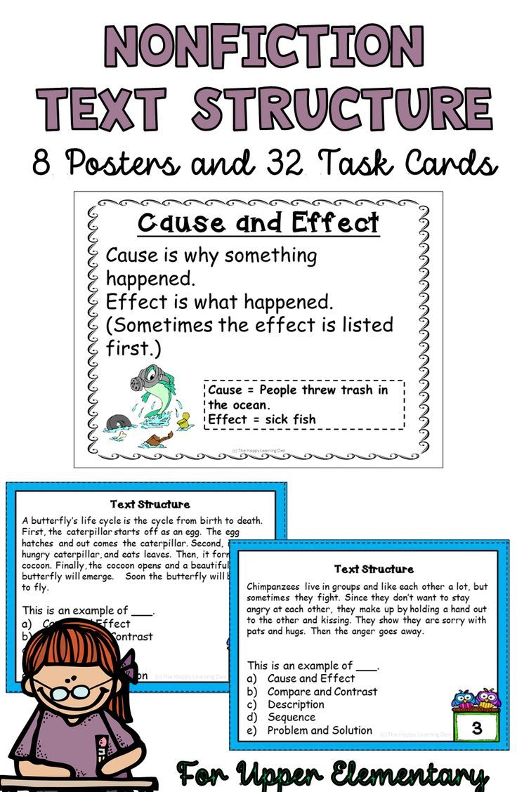 small resolution of Nonfiction Text Structure Task Cards and Posters for 4th and 5th Grade    Nonfiction text structure