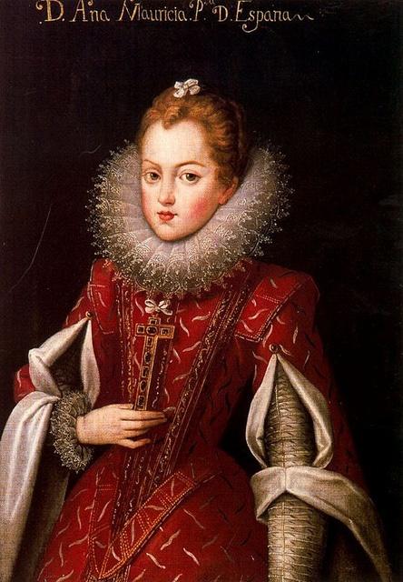 Anne d'Autriche, infante d'Espagne et Portugal, reine de France, enfant. Remarkable sleeve details