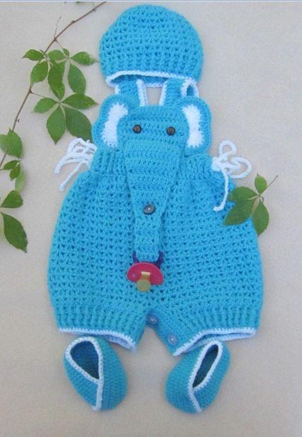 Crochet Baby Infant Romper Elephant Set by MagicalStrings on Etsy