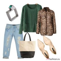 Повседневный лук, бойфренды, зеленый джемпер, леопардовая рубашка