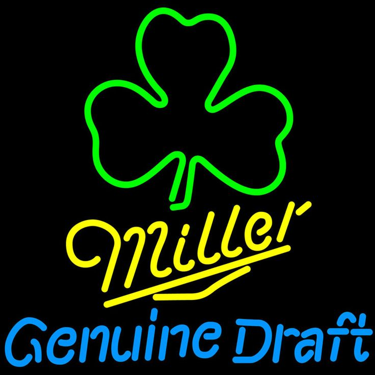 Miller MGD Green Clover Neon Sign, Miller MGD Neon Beer Signs & Lights   Neon Beer Signs & Lights. Makes a great gift. High impact, eye catching, real glass tube neon sign. In stock. Ships in 5 days or less. Brand New Indoor Neon Sign. Neon Tube thickness is 9MM. All Neon Signs have 1 year warranty and 0% breakage guarantee.