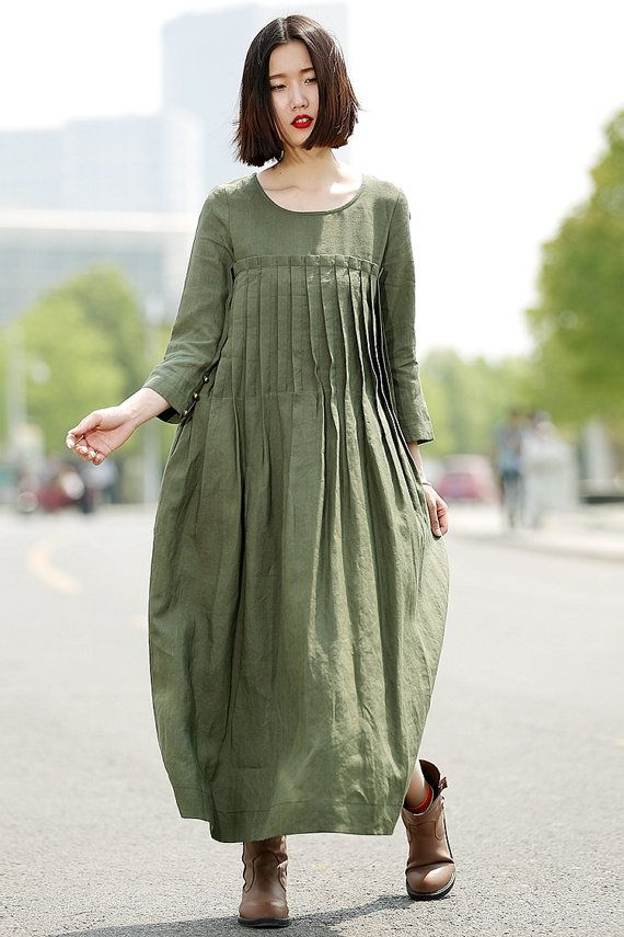 Hey, I found this really awesome Etsy listing at https://www.etsy.com/listing/187929899/green-linen-dress-casual-pleated-loose