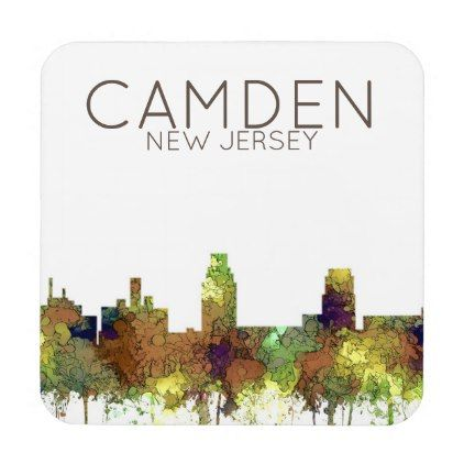 #Camden New Jersey Skyline SG Safari Buff Coaster - #xmas #christmas #christmastime #celebration #kids #children #family #parents #gift #gifts #present #presents