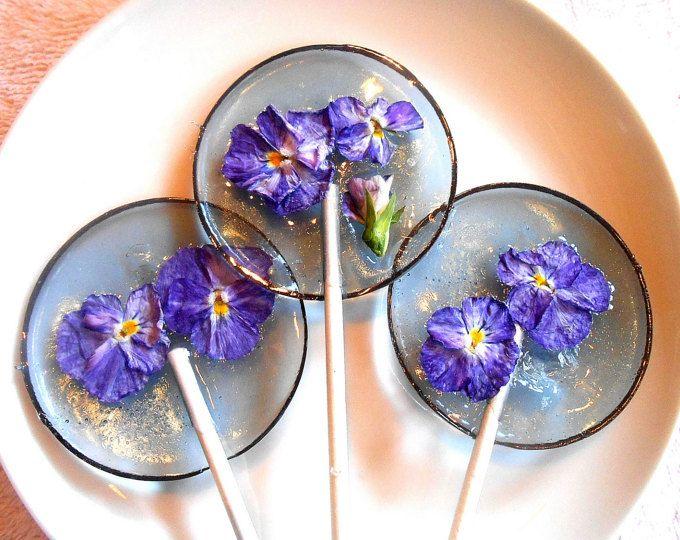 Gourmet Licor Alcohol Choice Viola, comestibles Lollipops gigantes, confitadas…