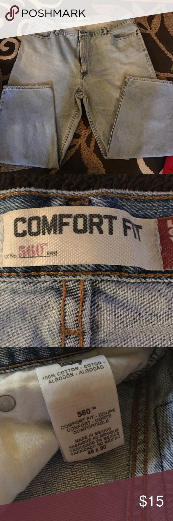 Levi Strauss 560 brand men's jeans 46x30 Men's, Levi Strauss 560 brand jeans, size 46x30. Great condition, some light fraying in the right leg, other than that no damage! Smoke free home, make me an offer and don't forget to bundle! Levi's Jeans Relaxed