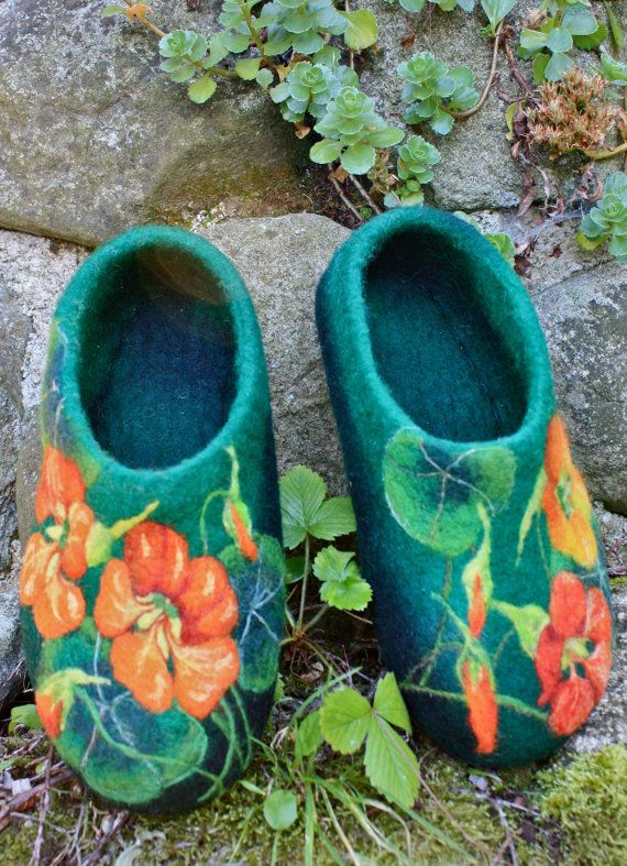 Felted Slippers  Nasturtium small Made to order by IrinaU on Etsy, $101.00