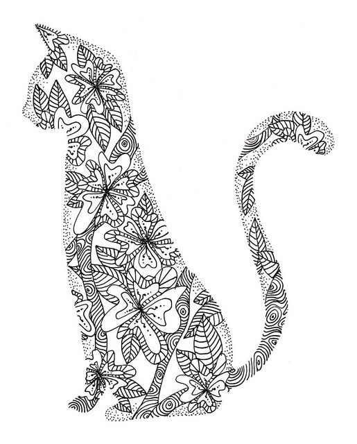 Mehndi henna zentangle cat mehndi henna pinterest for Cat coloring pages for adults