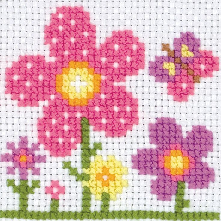 MAIA-1st Tapestry Kit Counted Cross Stitched. This is fun for kids or first timers to cross stitch/needle point kits. This package contains cotton thread; 8 count Binca fabric; needle; paper frame and