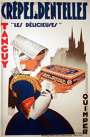 """By R. Dansler, c  1 9 3 0, Crêpes à dentelles"""" Les délicieuses"""" Tanguy."""