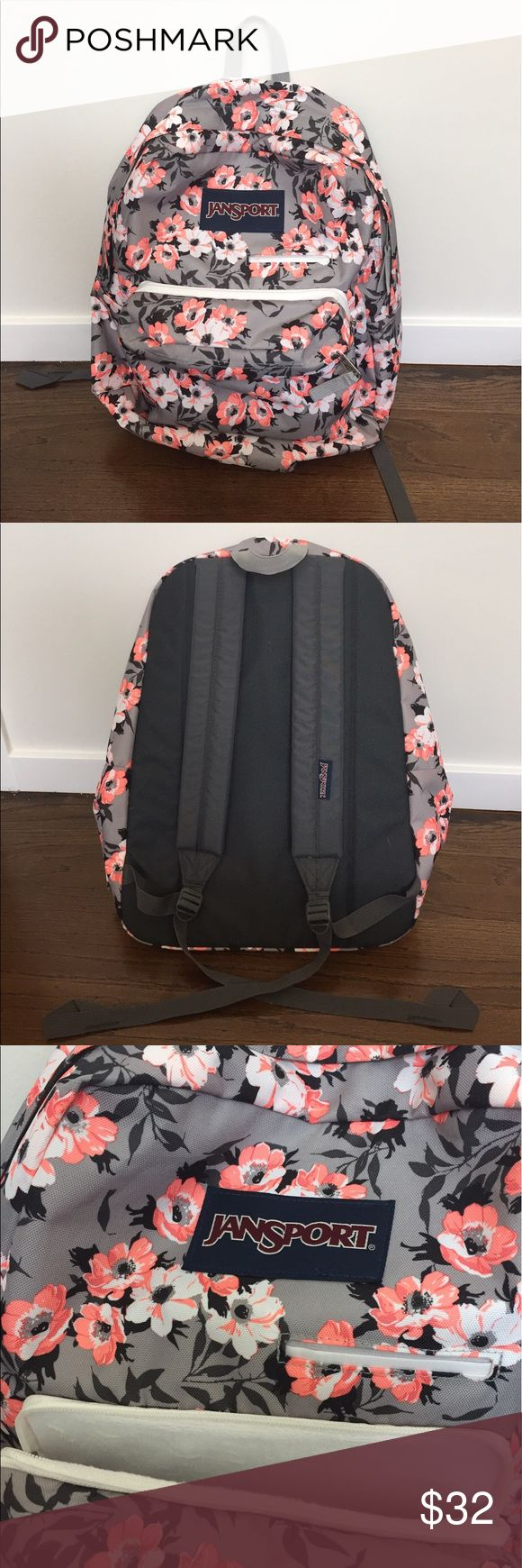 Jansport Backpack. Grey and pink Light grey and pink flower design. Has one large pocket with a laptop section. Has a phone pocket and iPad pocket lined with soft fabric. Front most pocket for pens and smaller items. In perfect condition. Bought new and was planning on using it for work only i thought the colors wouldn't be quite so bright. I absolutely love the design but I just dont find the need to use it as much. Perfect for students and in perfect condition. Jansport Bags Backpacks