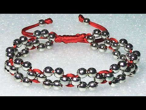 Como hacer una pulseras de hilo facil con cuentas o perlas formando flores faciles de hacer - YouTube