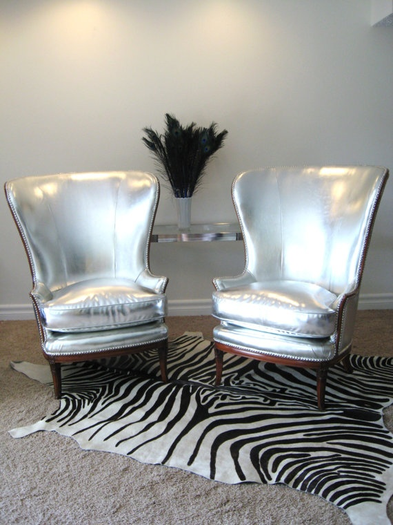 Vintage HOLLYWOOD REGENCY Pair SILVER Exaggerated by fabulousmess, $1895.00