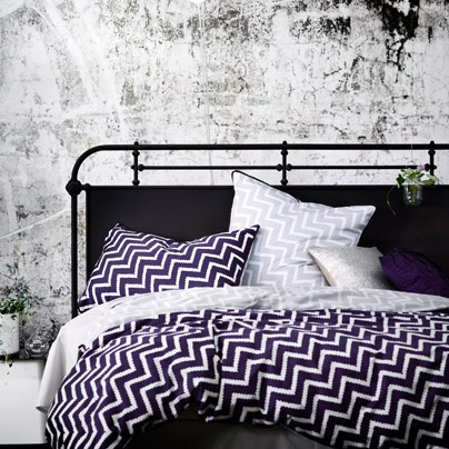 Cusco Amethyst King bed quilt cover -aura home - I teamed mine with yellow pillows - awesome!