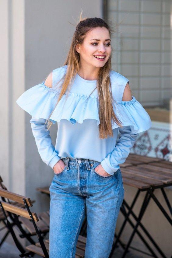 Bluza z falbaną Cranberry Niebieska