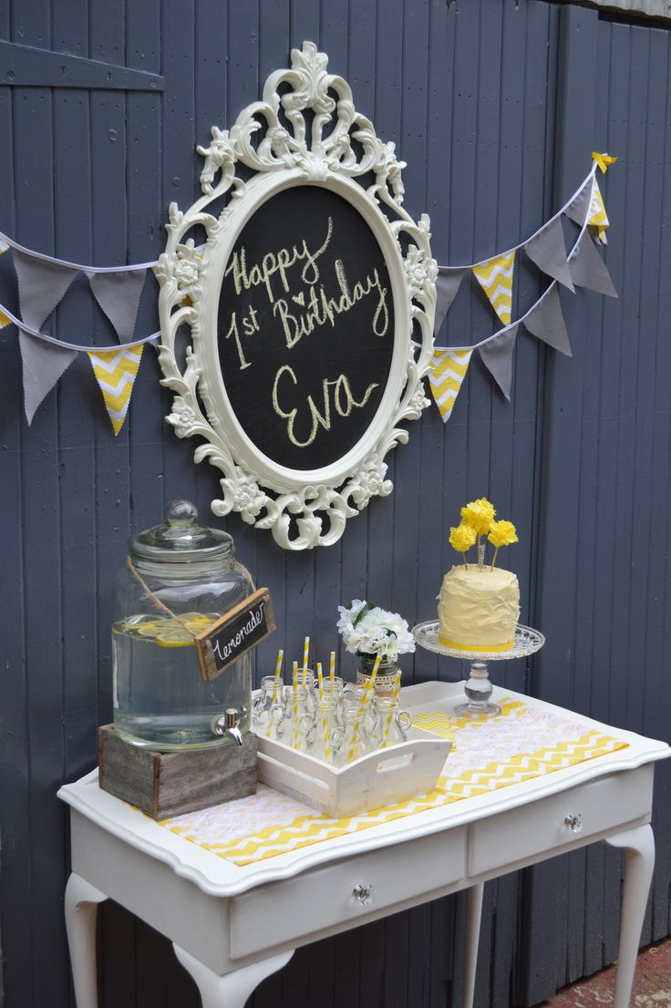 Yellow and Grey Chevron party backdrop. Being creative with the Ikea UNG frame.