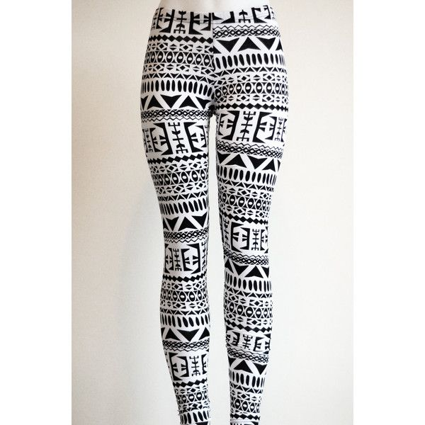 Tribal Womens Aztec mayan print pattern black and white Leggings... ($30) ❤ liked on Polyvore featuring pants, leggings, bottoms, jeans, calças, print leggings, tribal pattern leggings, tribal print pants, tribal print leggings and aztec leggings