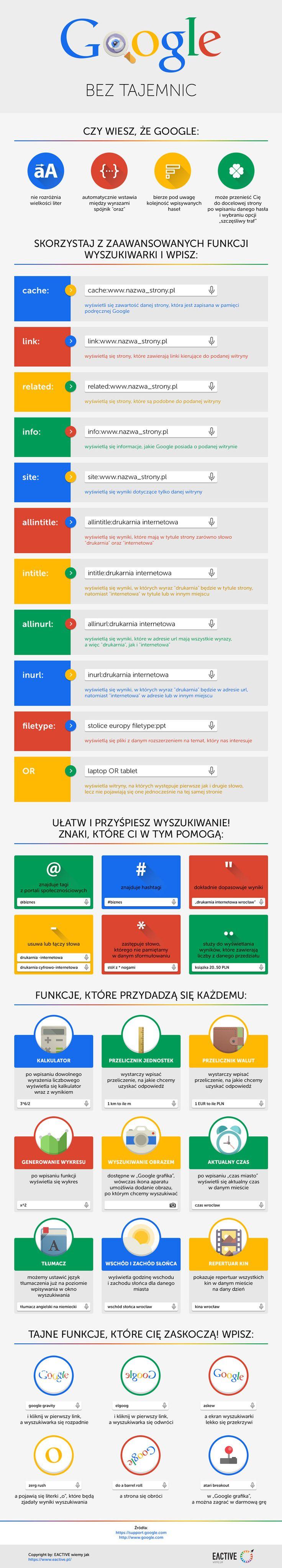 Infografika prezentuje zaawansowane sposoby wyszukiwania w Google oraz najciekawsze funkcje, które oferuje wyszukiwarka.