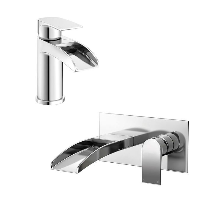 Denver Basin Mixer Wall Mounted Waterfall Bath Filler Tap Set Wall Mounted Bath Taps Waterfall Taps Bath Mixer Taps