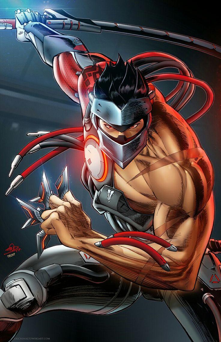 Genji Blackwatch Overwatch Skin- Art by Eric Ninaltowski Colors by Teo Gonzalez  Art and prints for sale on www.ericninaltowskiart.com