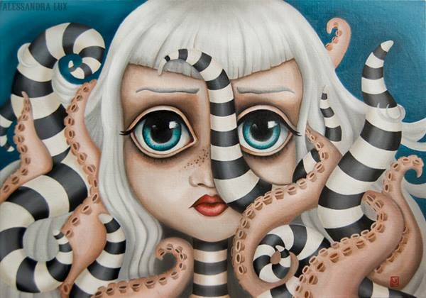 Octogirl by Alessandra Lux lowbrow pop surrealism octopus stripes alessandralux§ fantasy #lowbrown #pop #tentacles #surrealism #popsurrealism #lux #contemporaryart #popart #octopus