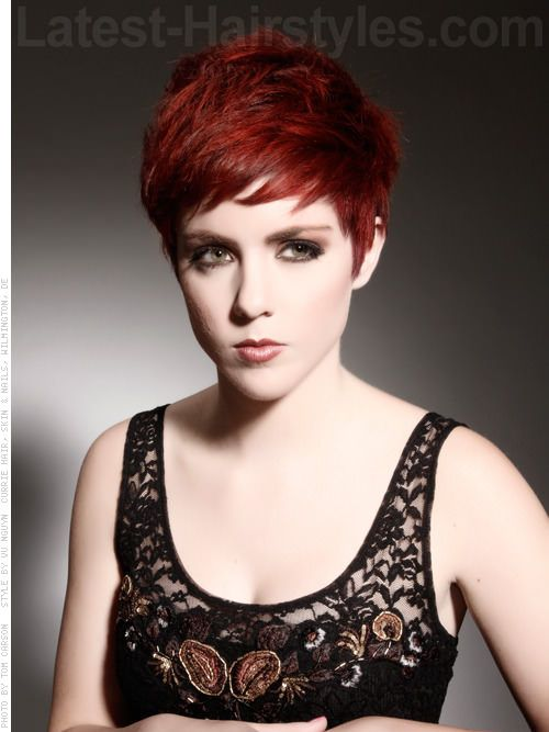 Dramatic Deep Red Hues Side Swept Pixie