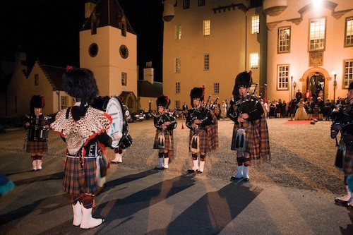 Traditional end to a wedding at Blair Castle.