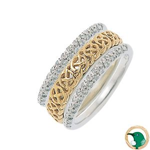 Life Ladies Celtic ring.  Style pictured 18ct white and yellow gold Celtic ring featuring a circular look Celtic weave over a solid gold band, with two Diamond Keepers A1371 (sold separately). 4.5mm width.   Your personal growth, living life to the fullest.