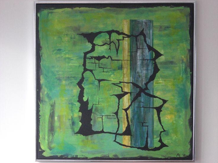 arl, 100x100cm Cracks, grøn
