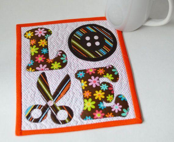 PDF LOVE Sewing Mug Rug / Mini Quilt Pattern