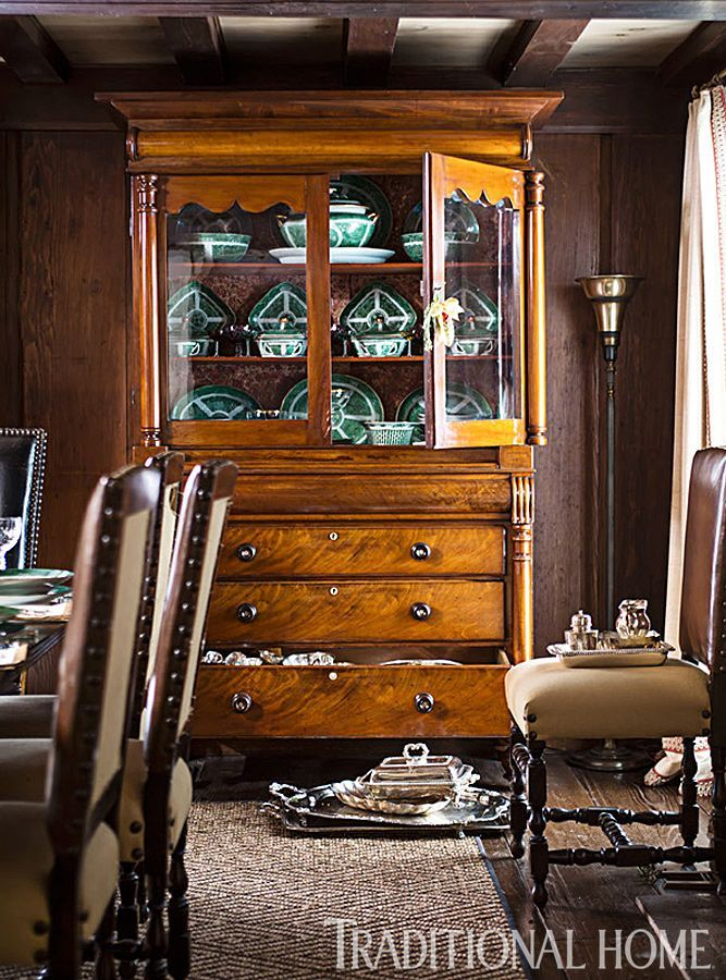 An antique hutch in the dining room holds family heirlooms