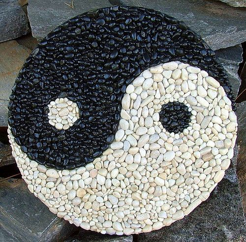 """Something I did in between working on Titus for the mosaic challenge. Black and White stones on board. 12"""" circle."""