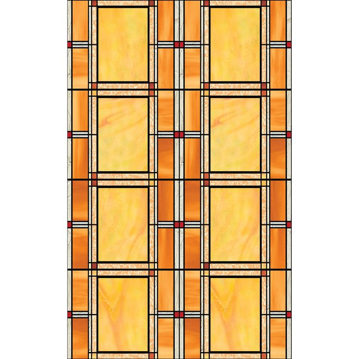 This artfully designed static cling window film will bring an air of class to your home while letting in gorgeous light. Various shades of orange intricately organized in an geometric fashion with faux stress in a few places for added effect.