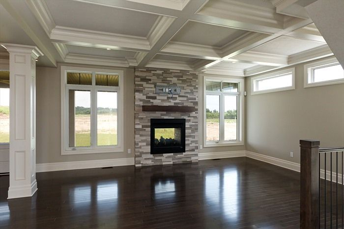 Family room with indoor/outdoor fireplace