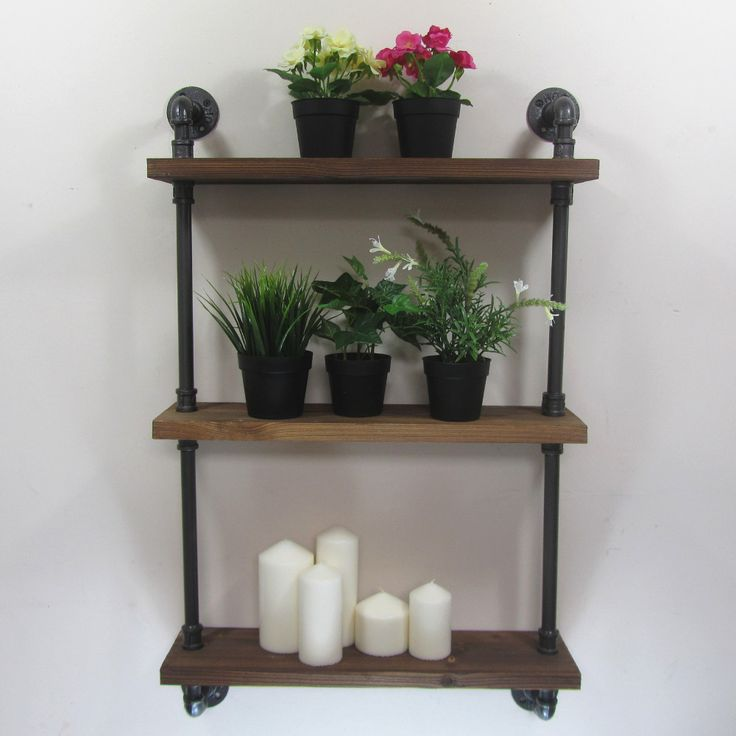 Cheap wall mounted shelves, Buy Quality mounted shelves directly from China wall mount Suppliers: Urban Retro Industrial Iron Pipe Shelving Shelves Natural Wood 3 Tiers Shelf. Size of the wooden board: 55cm x