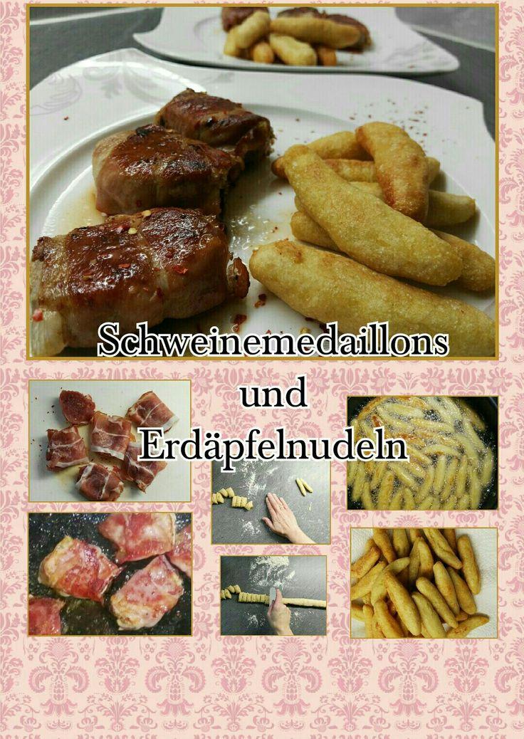 Herzhaftes Schweinemedaillon mit hausgemachten knusprigen Erdäpfelnudeln. Für die Erdäpfelnudel braucht ihr:  400 g melige Kartoffel 100 g Mehl 50 g Weizengrieß 1 Ei Salz Öl für die Pfanne weiter geht´s auf meinem Blog.