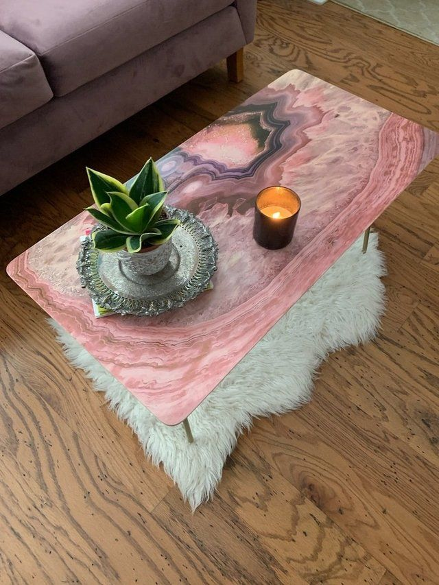 Pale Pink Agate Coffee Table By Emanuela Carratoni Coffee Table Coffee Table Inspiration Pink Home Offices
