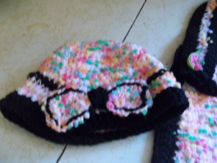 Crocheted hat with bow and matching bib. This one is 3 months
